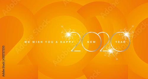 Fototapeta We wish You Happy New Year 2020 silver modern design light typography numbers orange greeting card obraz