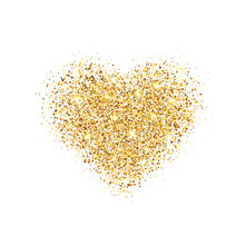 Glitter Gold Heart Isolated On White Background. Glowing Heart With Sparkles And Star Dust. Holiday Luxury Design. Valentines Day Card. Romantic Design With Symbol Of Love. Vector Illustration