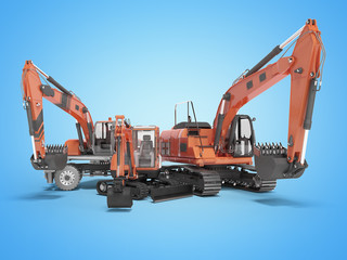 Group of construction machinery excavator 3D rendering on blue background with shadow