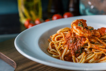 Mouth-watering Pasta With Tomato Sauce And Shrimps
