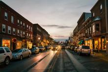 Twilight Downtown Main Street At Christmas Holiday