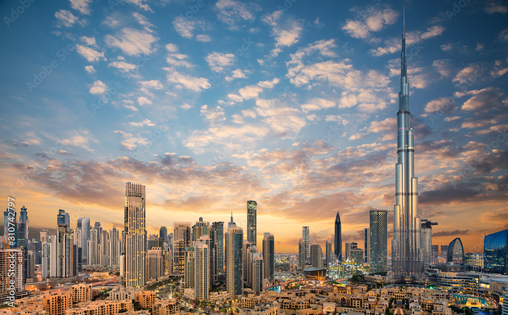 Fototapeta Amazing panoramic view on Dubai futuristic skyline, Downtown Dubai, United Arab Emirates