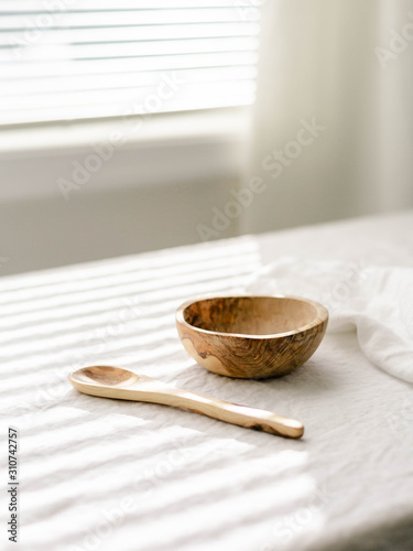 Olive wood bowl and spoon - 310742757