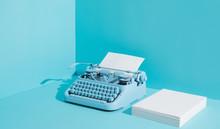 Blue Office Typewriter