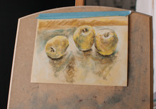 Unfinished Drawing Of Apples On Easel