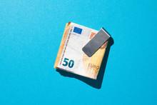 Euro Bills In Metal Clip