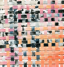 Watercolor Woven Paper Collage In Black And Gray And Peachy Colors