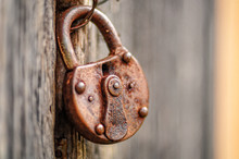 Old Lock On Wooden Door.