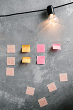 Sticky Notes On Concrete Wall