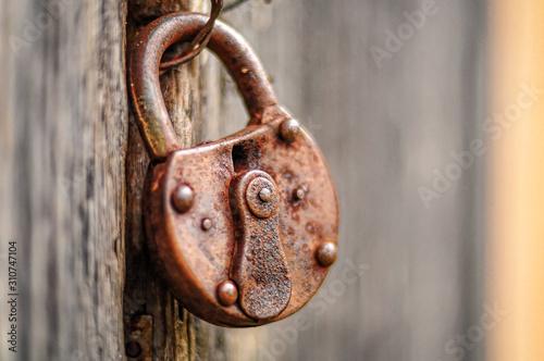 Fototapeta Old lock on wooden door. obraz