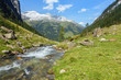 Gebirgsbach mit klarem Quellwasser im Zillertal in Tirol