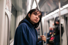 Asian Woman In The Subway