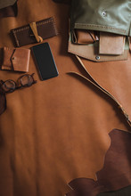 Leather Accessories Flat Lay