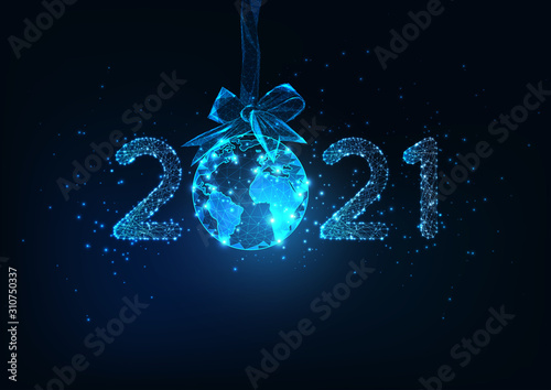Happy New Year digital web banner with futuristic 2021 number and Earth globe hanging on ribbon bow