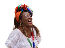 Salvador, Bahia, Brazil, Happy Brazilian Woman Of African Descent Dressed In Traditional Baiana Costumes Isolated On White Background