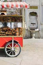 Trolley With Fresh Bakery On Street. Turkish Bagel. Simit.
