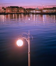 Night City Over Water Behind S...