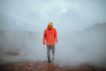 Man Walking In Winter In A Fog...
