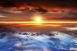 canvas print picture - Beautiful sunset .  Beautiful heavenly landscape with the sun in the clouds . View of clouds from high altitude . Paradise heaven .light about the sky     . Sky background .