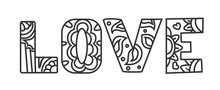 Love Coloring Page For Valentine`s Day With Flowers