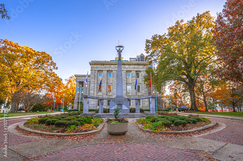 Obraz View of North Carolina State Capitol building in fall season,Raleigh,NC,USA - fototapety do salonu