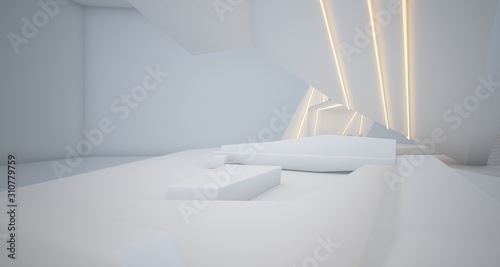 Fototapety, obrazy: Abstract architectural white interior of a minimalist house with swimming pool and neon lighting. 3D illustration and rendering.