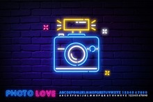 Camera Is Neon. Logo For Photographers, Sign For Photo Studios. Night Bright Neon Sign, Colorful Billboard, Light Banner. Vector Illustration In Neon Style.