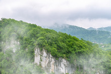 Fog In The Dense Green Forest On The Top Of Rocky Hill