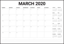 March 2020 Desk Calendar Vecto...