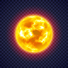 Sun With Corona Atmosphere On Transparent Background. Hot Star Of Solar System. Galaxy Discovery And Exploration. Realistic Cosmic Vector Illustration For Design School Education Materials.