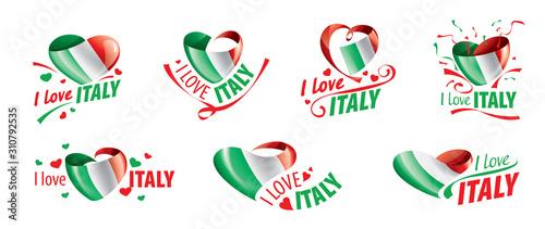 Fototapeta The national flag of the Italy and the inscription I love Italy. Vector illustration obraz