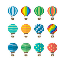 Hot Air Balloon Flat Vector Illustration Set