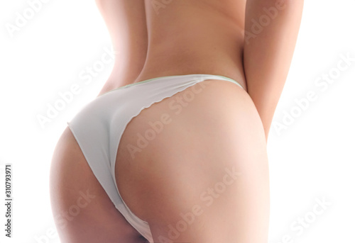 Body shape of ass beautiful of sexy women wearing elegant white lingerie  isolat Wallpaper Mural