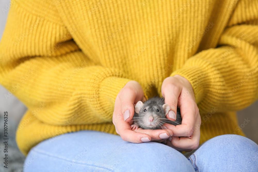 Young woman with cute rat, closeup