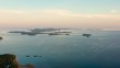 Colorful bright clouds during sunset over the sea, aerial view. Sunrise over ocean. Philippines. Seascape, Summer and travel vacation concept. Seascape, morning over the islands.