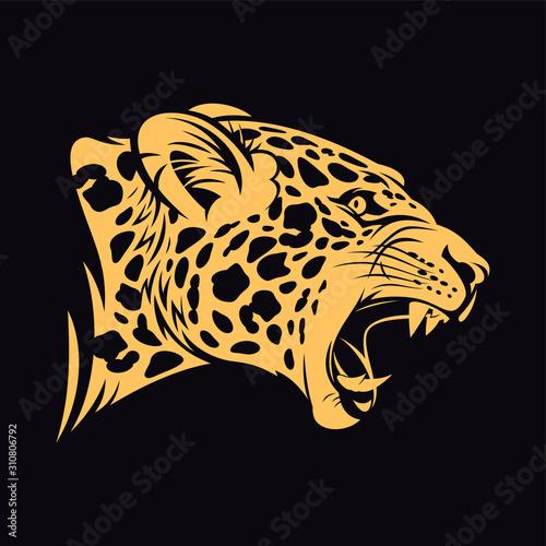 Growling jaguar vector illustration. Wild cat head. Canvas Print