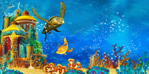 cartoon scene animals swimming on colorful and bright coral reef - illustration for children
