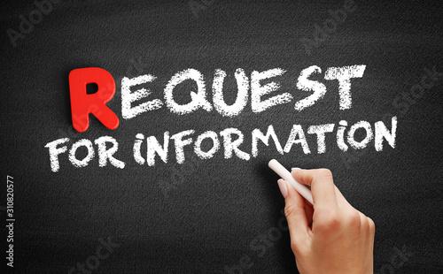 Fényképezés Request For Information text on blackboard, business concept background