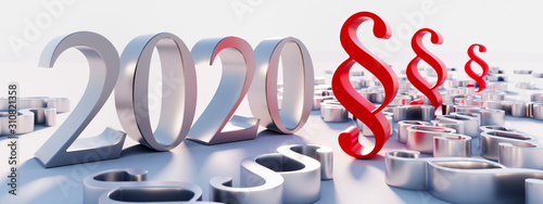 Cuadros en Lienzo  Silver paragraphs and the year 2020 numbers - 3d illustration