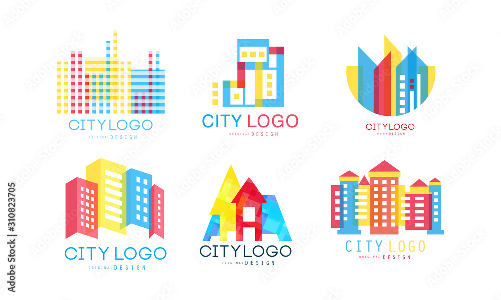 Fototapeta City Logo Design Vector Set. Real Estate Emblem Concept