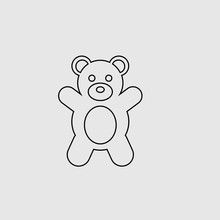 Teddy Bear Vector Icon. Lined Flat Sign For Mobile Concept And Web Design. Teddy Bear Glyph Icon. Symbol, Logo Illustration. Vector Graphics