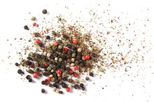 Colorful Mixed Pepper Grains With Crushed Flakes, Isolated On White Background