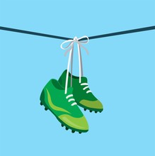 Hanging Football Shoes On Wire...