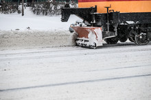 Tram Snowplow With Side Wing Blade Removing Snow And Ice From Bucharest