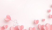 Hearts With Man Holding Balloon. Paper Flying Elements On Pink Background Postcard. Vector Symbols Of Love For Happy Women, Valentine's Day, Birthday Greeting Card Design..
