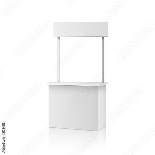 Fotografie, Obraz Blank information promo booth isolated on white background