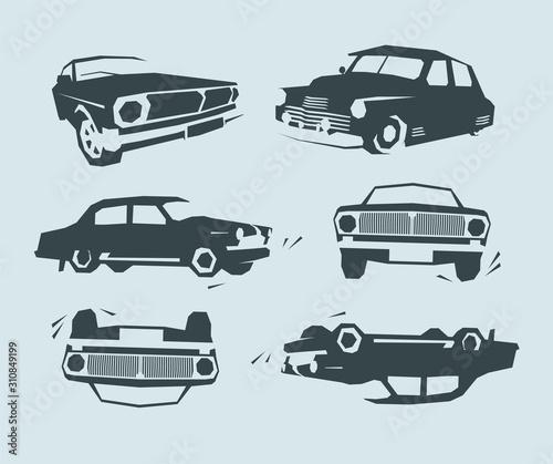 Retro muscle cars, abstrakcyjna sylwetka, prosty kształt retro płaskiego i vintage design. Wystawa samochodów, stare samochody.