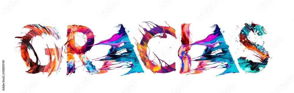 Fototapeta Gracias por las letras multicolor en español