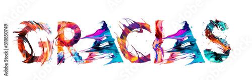 Cuadros en Lienzo  Gracias por las letras multicolor en español
