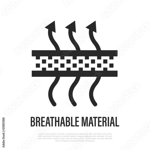 Valokuva Breathable material thin line icon